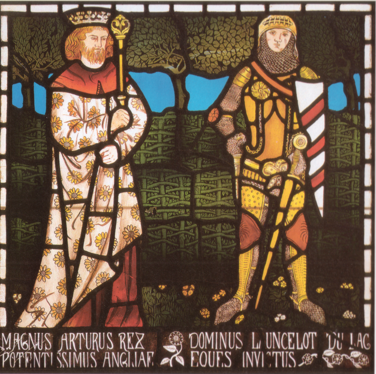 William Morris, King Arthur et sir Lancelot, détail des vitraux de Tristan et Yseult, 1862. Bradford Art Gallery